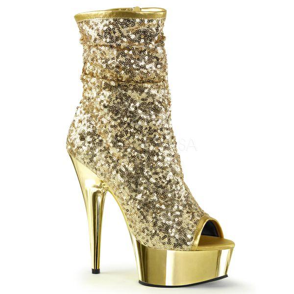 Open Toe Stiefelette mit goldfarbenen Pailletten und goldfarbenem verchromtem Plateau DELIGHT-1008SQ